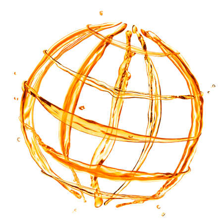abstract globe from orange water splashes isolated on white photo