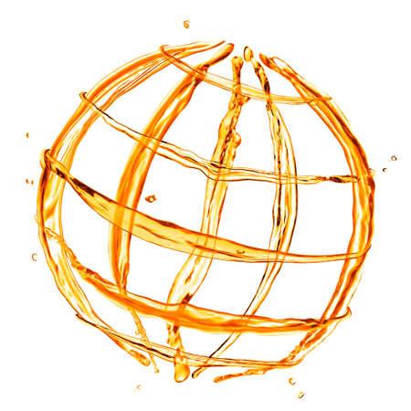 globus: abstract globe from orange water splashes isolated on white Stock Photo