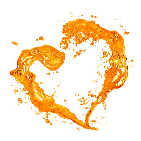 orange splash: Heart from yellow water splash with bubbles isolated on white