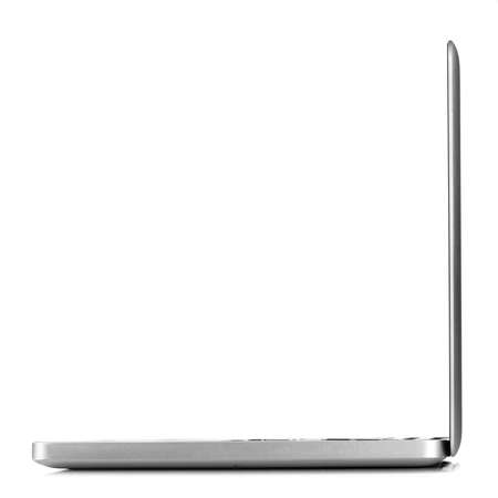 side keys: Open laptop isolated on white, side view