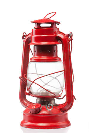 kerosene lamp: Red vintage gas lamp isolated on white