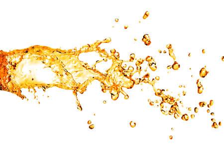 oil splash: orange water splash isolated on white