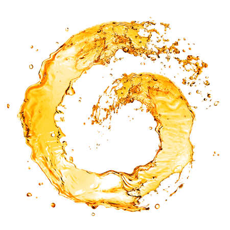 oil splash: round orange water splash isolated on white