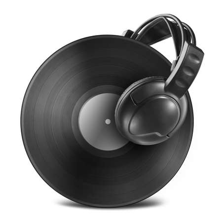 Black vinyl record disc with headphones isolated on white photo