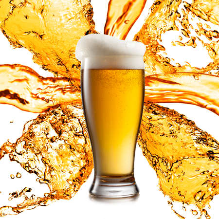 single beer: Beer in glasses isolated on white background Stock Photo