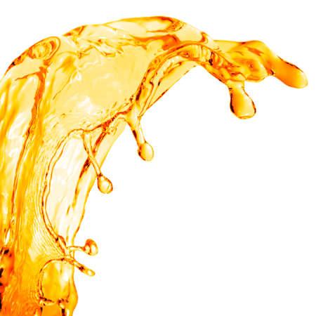 oranje water splash op een witte Stockfoto