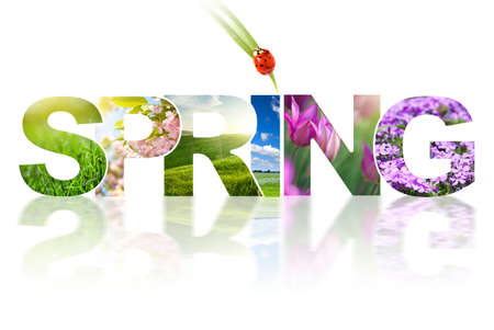 Spring word collage made of different photos isolated on white photo