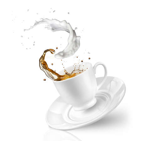 Splash of tea with milk in the falling cup isolated on white
