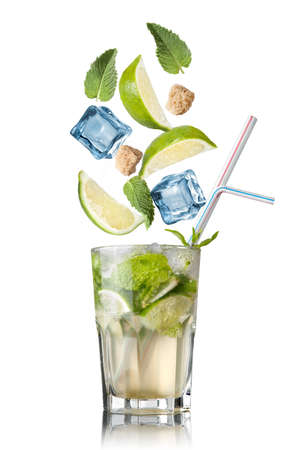 mohito: mohito cocktail with falling ingredients isolated on white