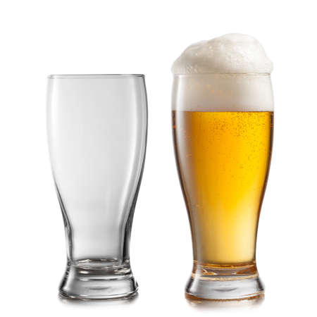 Empty and full glasses of beer isolated on white background