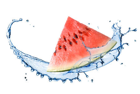 Watermelon: watermelon and water splash isolated on white Stock Photo