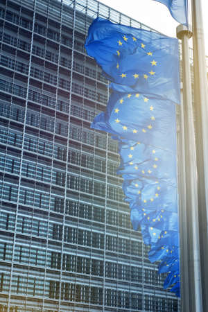 central government: European Union flags in front of the Berlaymont building (European commission) in Brussels, Belgium.