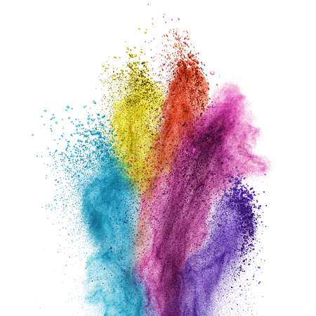 Color powder explosion isolated on white background Stock Photo