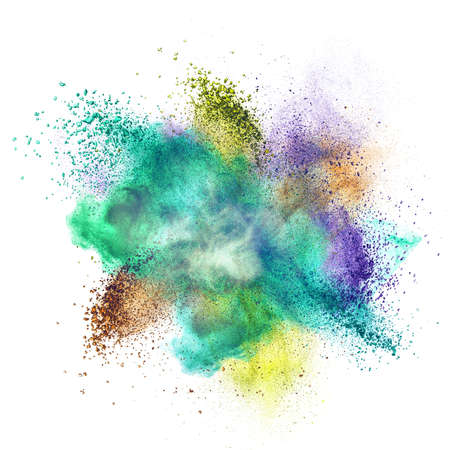 Color powder explosion isolated on white background photo