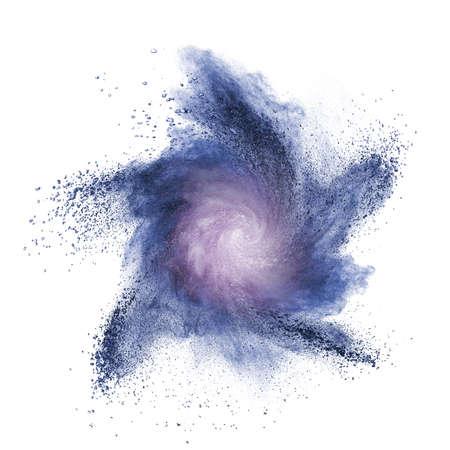 Blue powder explosion isolated on white background photo