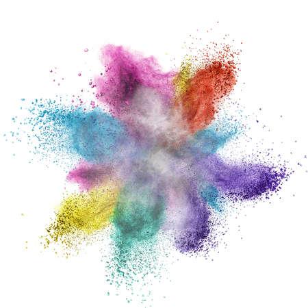 poudre de couleur explosion isolé sur fond blanc