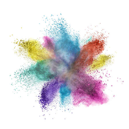 black powder: Color powder explosion isolated on white background Stock Photo