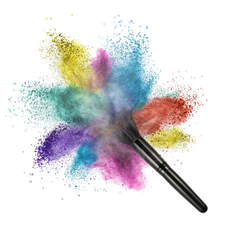 makeup brush with color powder isolated on white