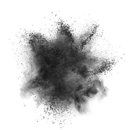 Black powder explosion isolated on white background Stock Photo