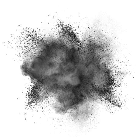 Black powder explosion isolated on white background Banque d'images
