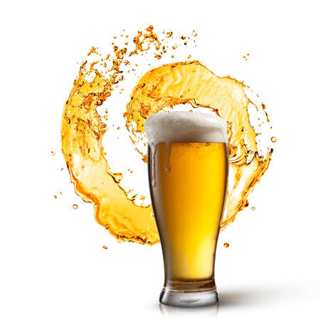 Beer in glass with splash isolated on white background photo
