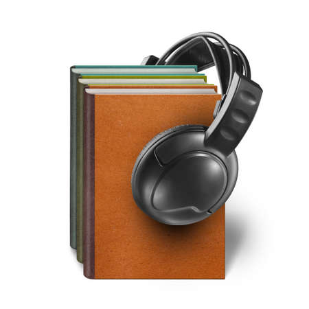audible: headphones with books audio-book concept isolated on white background Stock Photo