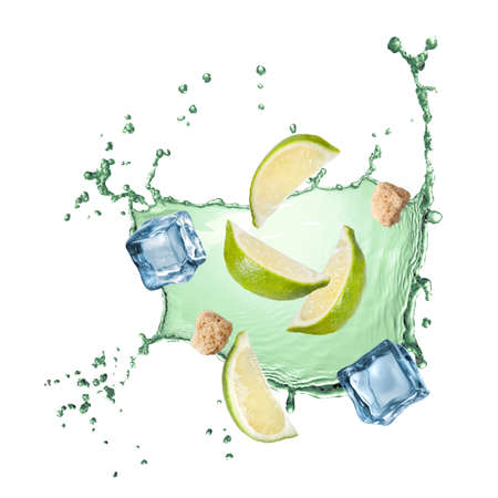 water splash with lime, ice and sugar isolated on white photo