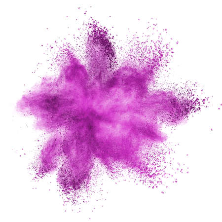 Pink powder explosion isolated on white background Stock Photo