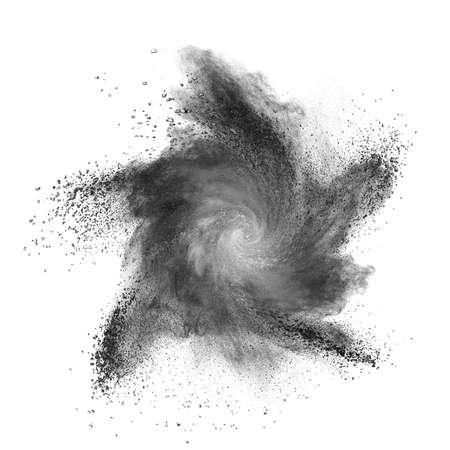 Black powder explosion isolated on white background Standard-Bild