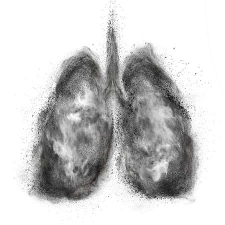 Lungs made of black powder explosion isolated on white background