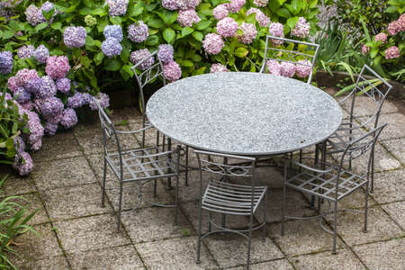 table and chairs in garden with color hydrangea flowers photo