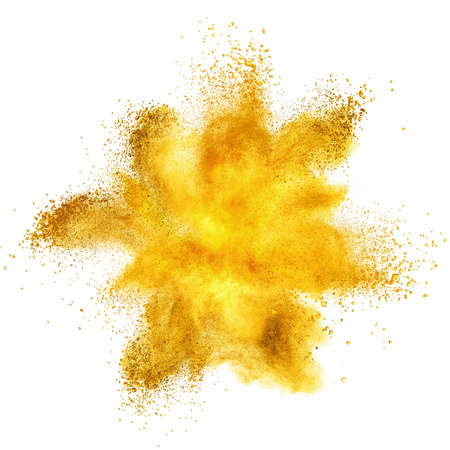 sprays: Yellow powder explosion isolated on white background Stock Photo