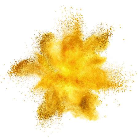 the yellow: Yellow powder explosion isolated on white background Stock Photo