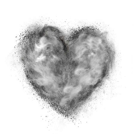 love blast: heart made of black powder explosion isolated on white background