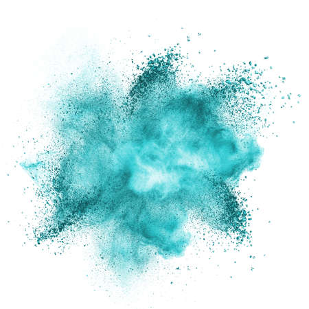 sprays: Blue powder explosion isolated on white background Stock Photo