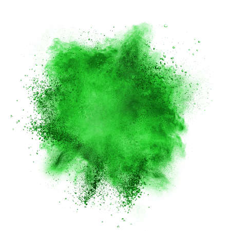 green paint: Green powder explosion isolated on white background