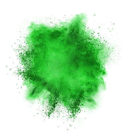 groen behang: Groene poeder explosie op een witte achtergrond
