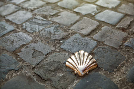 xacobeo: Santiago shell - St James shell in Brussels, Belgium Stock Photo