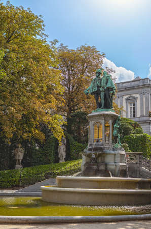 thinkers: Statue of Egmont and Hoorne on Petit Sablon Square in Brussels, Belgium