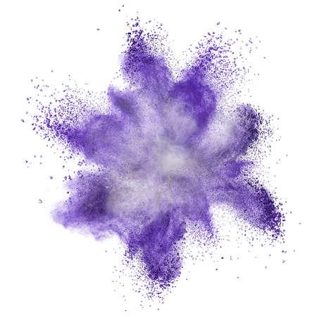 White powder explosion isolated on black background