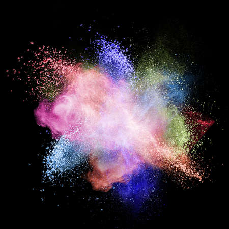 Color powder explosion isolated on black background