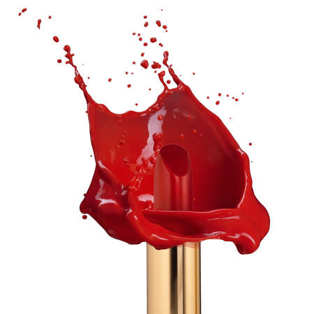 Red lipstick with splash of paint isolated on white background