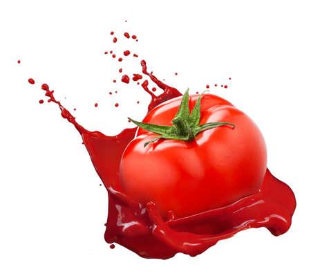 Red tomato with juice splash isolated on white background