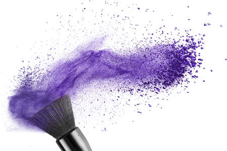 makeup brush with blue powder isolated on white