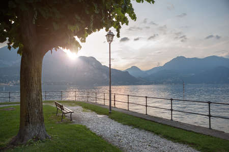 lake house: Beautiful view of Como lake on sunset in Bellagio, Italy
