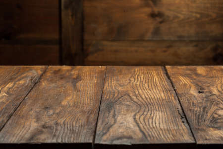 empty old wooden table top Stock Photo
