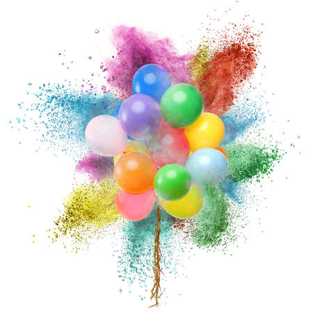 color backgrounds: Color balloons and powder explosion isolated on white background Stock Photo