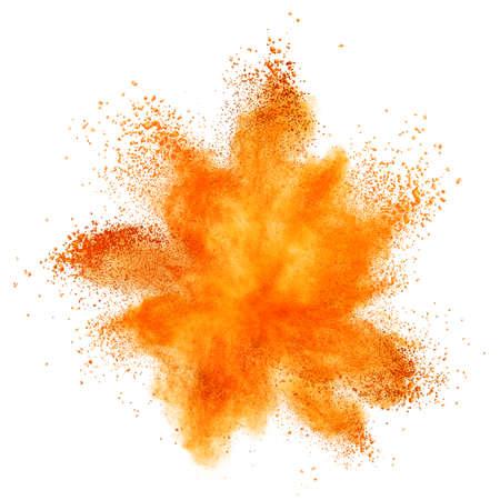 orange powder explosion isolated on white background