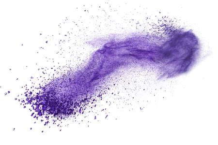 purple?: Explosi�n de polvo p�rpura aislada en el fondo blanco Foto de archivo