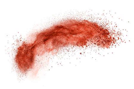 maquillage: rouge explosion de poudre isol� sur fond blanc